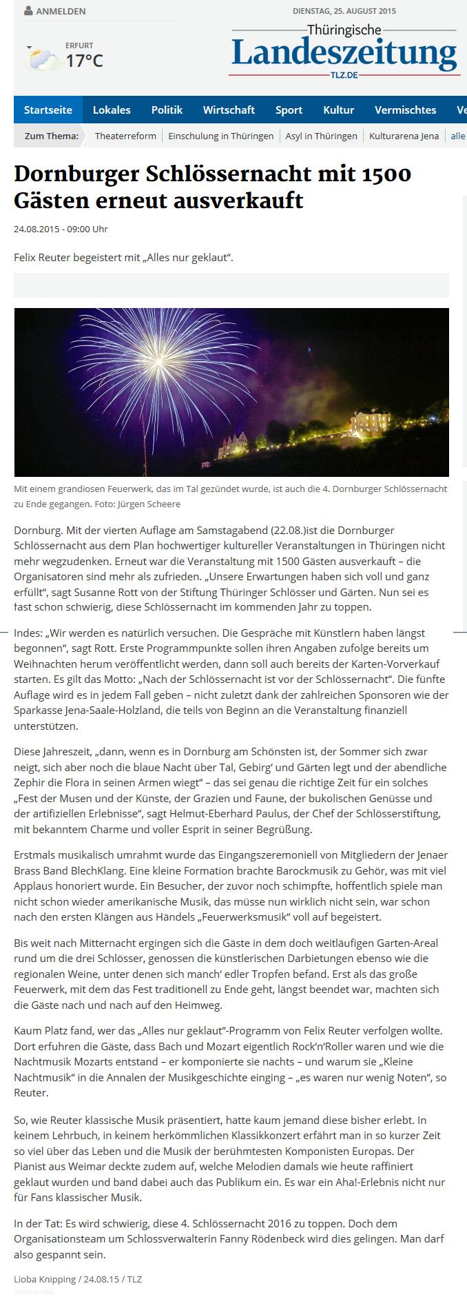 Feuerwerk zur Dornburger Schlössernacht