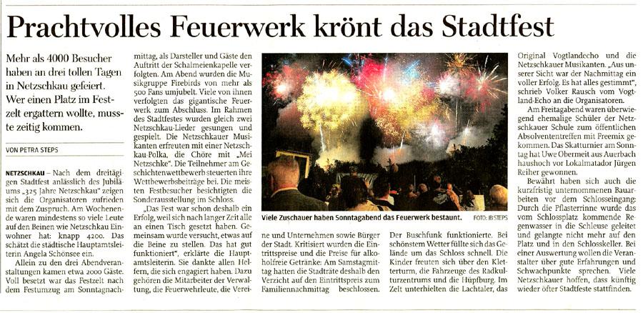 Feuerwerk zum Stadtfest in Netzschkau Vogtland Sachsen