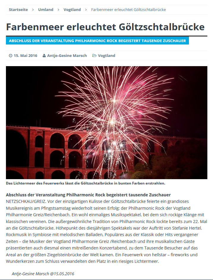 Feuerwerk an der Göltzschtalbrücke im Vogtland, Feuerwerk Philharmonic-Rock